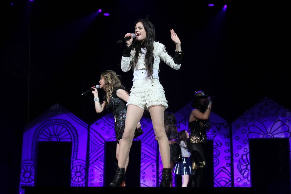Singer Demi Lovato performs her concert of 'The Neon Lights Tour' with Fifth Harmony / Little Mix